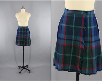 Vintage Plaid Kilt / Kilted Mini Skirt / Blue Tartan / 1980s Mini-skirt / Highland Scotland Scottish / Size XS S