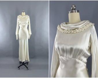 Vintage 1930s Wedding Dress / 30s Bias Cut Dress / 1930 Art Deco Ivory Silk Satin Gown / Size XXS 0 Petite