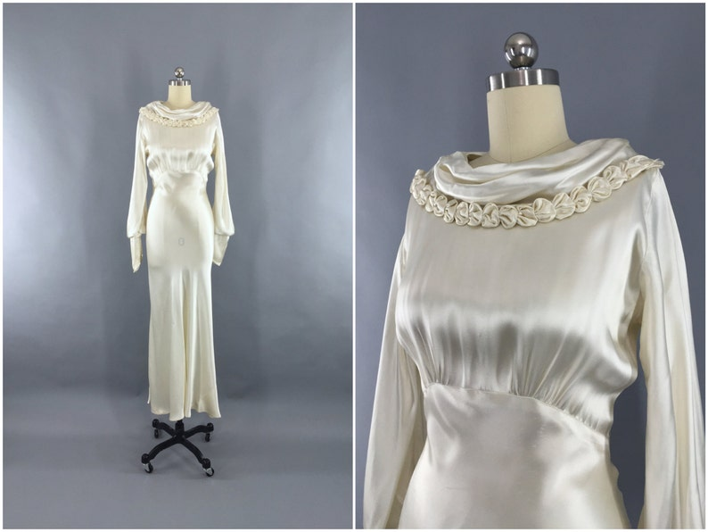 1346821af69d Vintage 1930s Wedding Dress   30s Bias Cut Dress   1930 Art