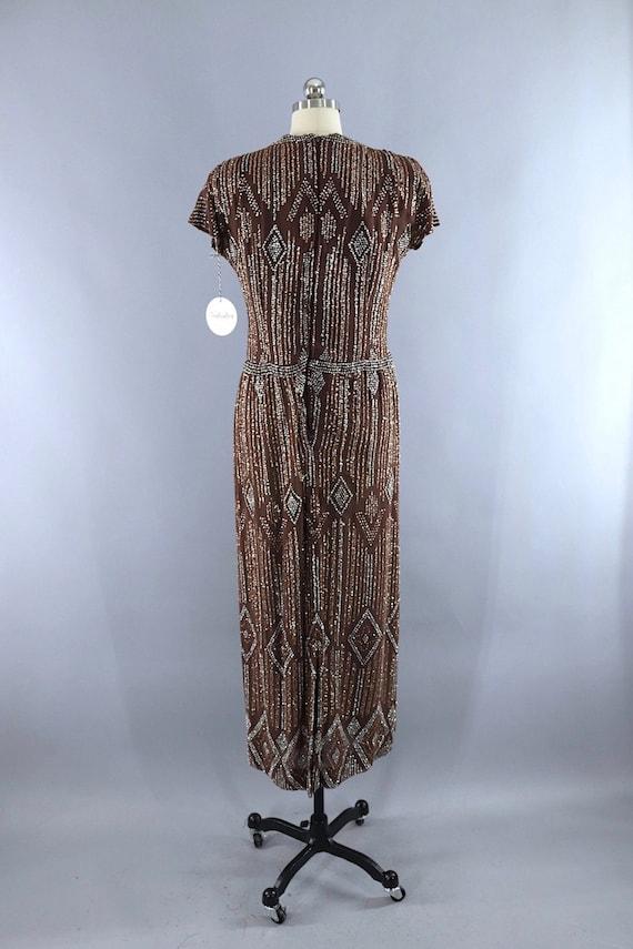 Vintage Formal Dress, Pauline Trigere, Mocha Brow… - image 6