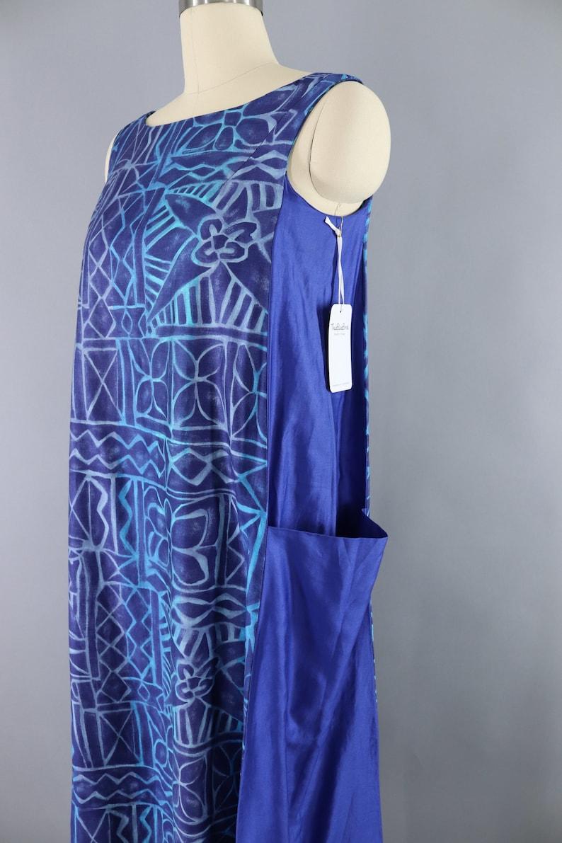 Blue Batik Cotton Sateen Pinafore Smock Vintage Dress 1980s 90s Long Maxi Polynesian Hawaiian Print Sleeveless Sundress