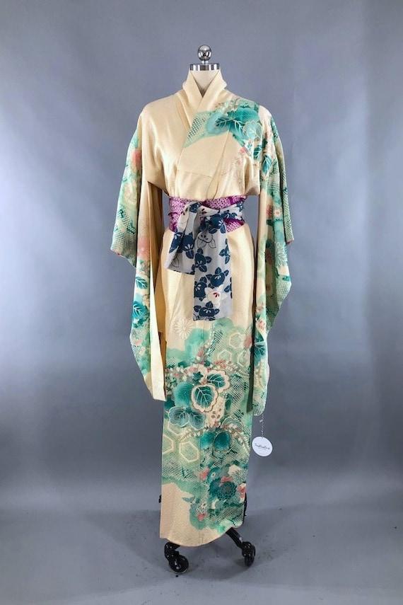 Japanese Kimono Robe  Vintage Kimono Komon  Dressing Robe  Robe  Dress  Kimono  flower