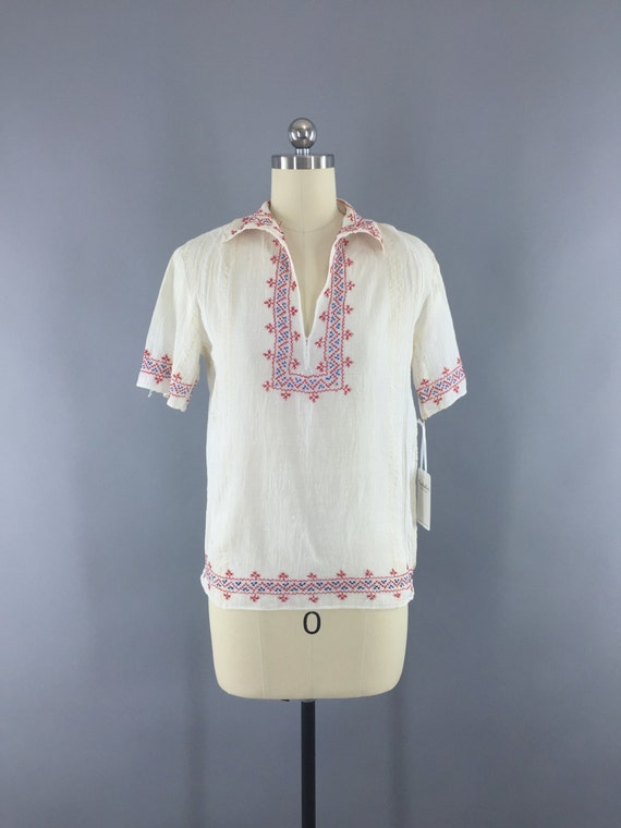 Vintage Peasant Blouse, 1920s Hungarian Embroider… - image 2