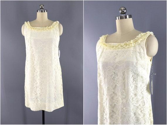 Vintage Lace Dress, Sheath Minidress, Ivory Winter