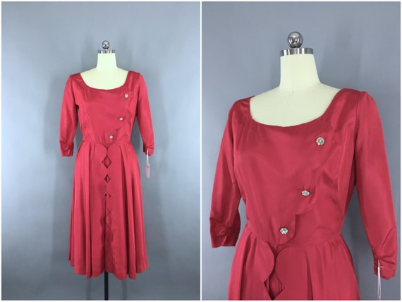 Vintage Dress, Raspberry Red Taffeta, Cocktail Hol