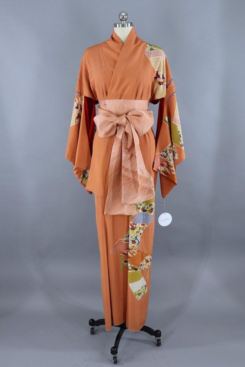 Lingerie Loungewear 1960s Orange and White Micro Dots Vintage Silk Kimono Robe Dressing Gown