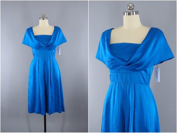 Vintage 1950s Dress / 50s Cocktail Party Dress / E