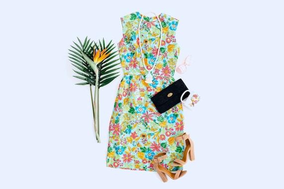 vtg 70s Malia aqua blue pink floral print cotton sundress dress size 14 dress garden party ruffle trim petites summer 1970s bow waist
