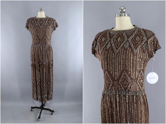 Vintage Formal Dress, Pauline Trigere, Mocha Brown