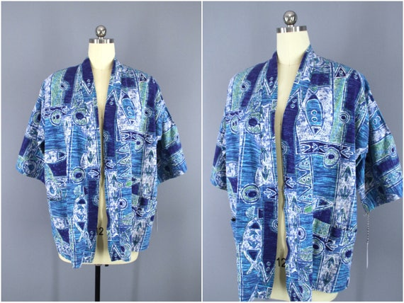 Vintage Kimono Cardigan, Hawaiian Print, Polynesia