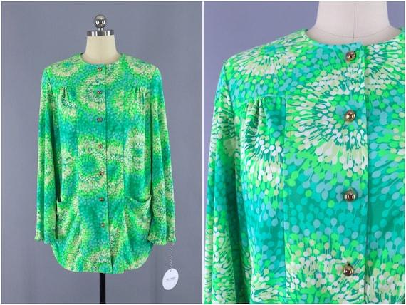 Vintage Cardigan, Swim Coverup Shirt, Green Novelt