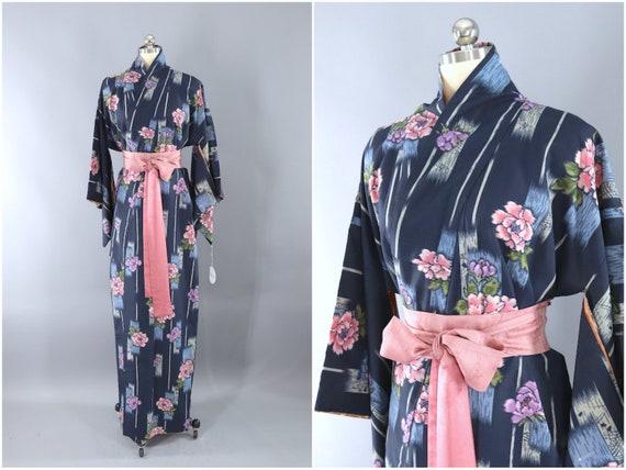 Vintage Kimono Robe, Blue & Pink Peony Floral Rayo