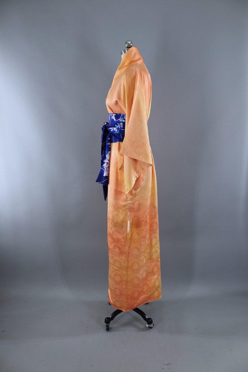 Orange Silk Robe Art Deco Wedding Dressing Gown Vintage Silk Kimono Lingerie Loungewear 1960s with obi belt