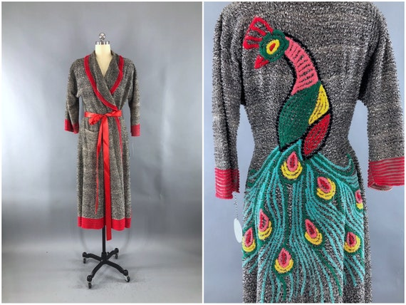 Vintage Chenille Peacock Robe, Black and Red, 1950