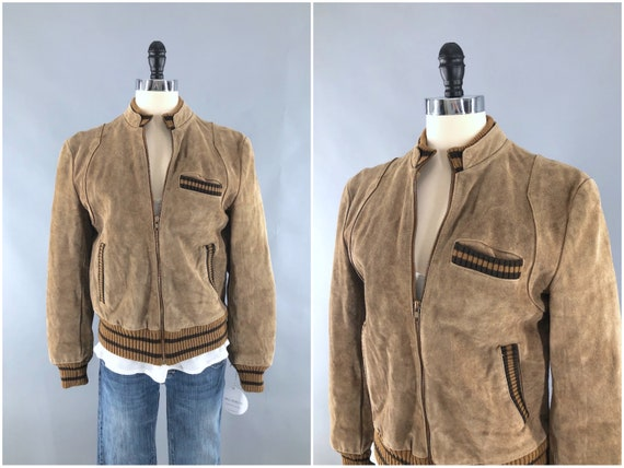 Vintage Suede Jacket, Tan Brown Leather, 1980s 80s