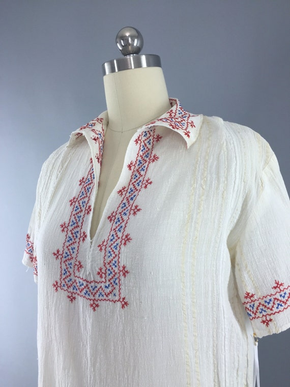 Vintage Peasant Blouse, 1920s Hungarian Embroider… - image 3