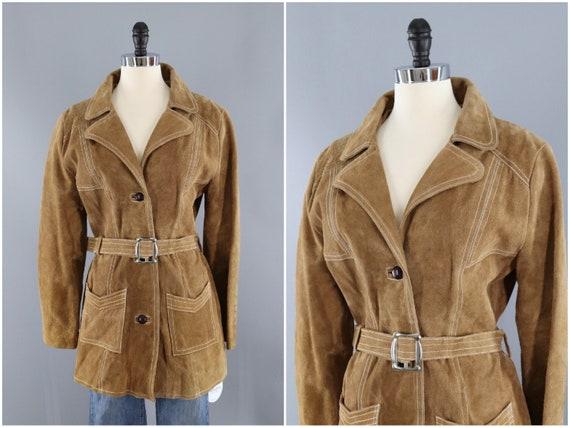Vintage Suede Jacket, Tan Leather, Camel Caramel,