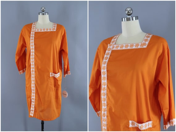 Vintage Dress, Orange and White Embroidery, 1960s