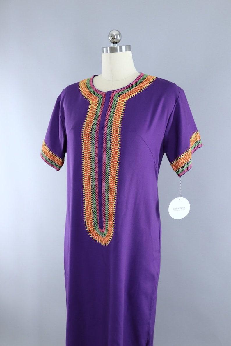 Vintage Embroidered Caftan Dress  1970s Purple Maxi Dress  Long Hostess Dress  Hippie Style  Boho Kaftan