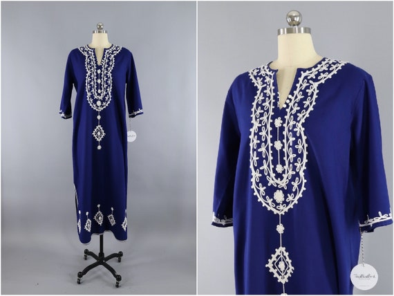 Vintage Caftan Dress / 1960s Blue Maxi Dress / Mor