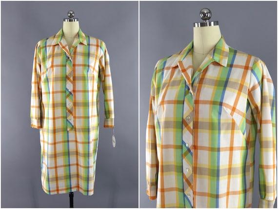 Vintage Dress, Madras Plaid, Summer Preppy Style,