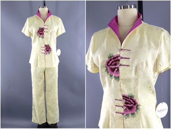 Vintage Silk Set, Loungewear, Pants Suit, 2pc Set,