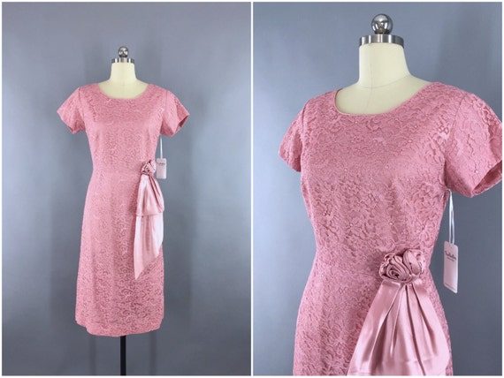 Vintage Dress, Blush Pink Lace, Bridesmaid, Courth