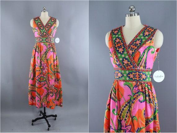 Vintage 1960s Maxi Dress, Pink and Orange Paisley