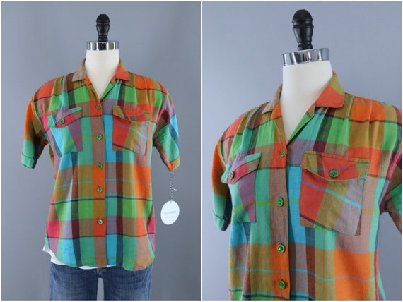 Vintage Blouse, Orange and Green Plaid, Tartan Mad