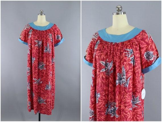 a639dff3e2e Vintage 1960s Dress   60s Hawaiian Print Dress   Caftan Dress   Aloha Dress    Pink Floral Print