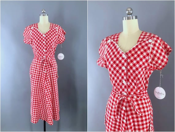 Vintage Dress, 1930s 30s, Red White Gingham, Summe