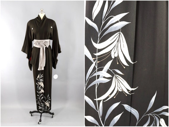 Vintage Silk Kimono Robe, Dressing Gown, Wedding