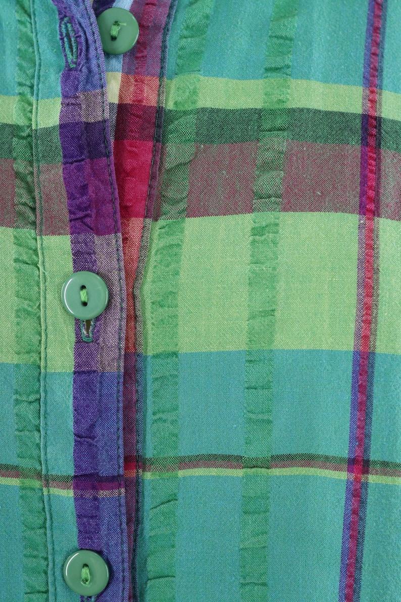 Vintage 1980s Madras Plaid Top Green Seersucker Cotton Preppy Summer Blouse