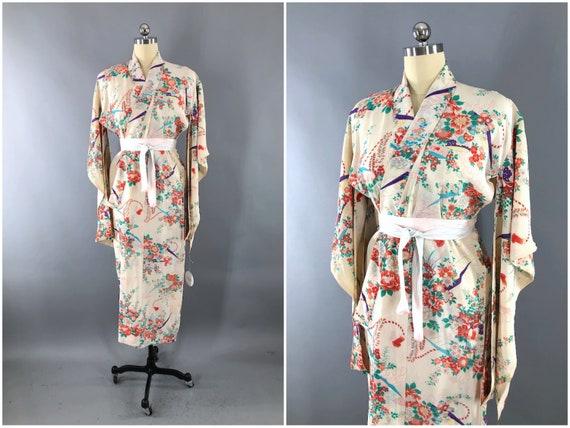 Vintage Silk Kimono Robe, Dressing Gown, Wedding