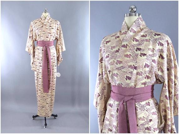 Vintage Kimono, Ivory Purple Animal Novelty Print,