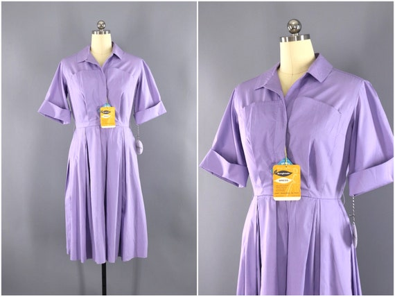 Vintage Dress, Lavender Purple Cotton Shirtdress,