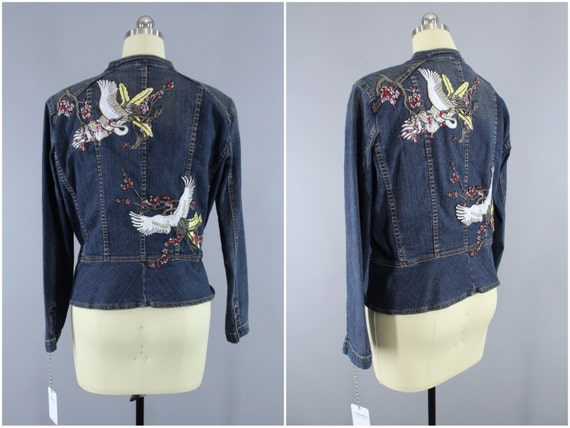 kid exclusive range on wholesale Embroidered Denim Jacket / Asian Cranes Birds Embroidery Jean Jacket /  Cherry Blossom Floral / Peplum Jacket / Military Style / Large L XL