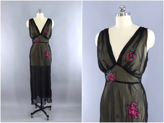 Vintage 1930s Nightgown Bias Cut Black Chiffon Pink Floral  e34532c57