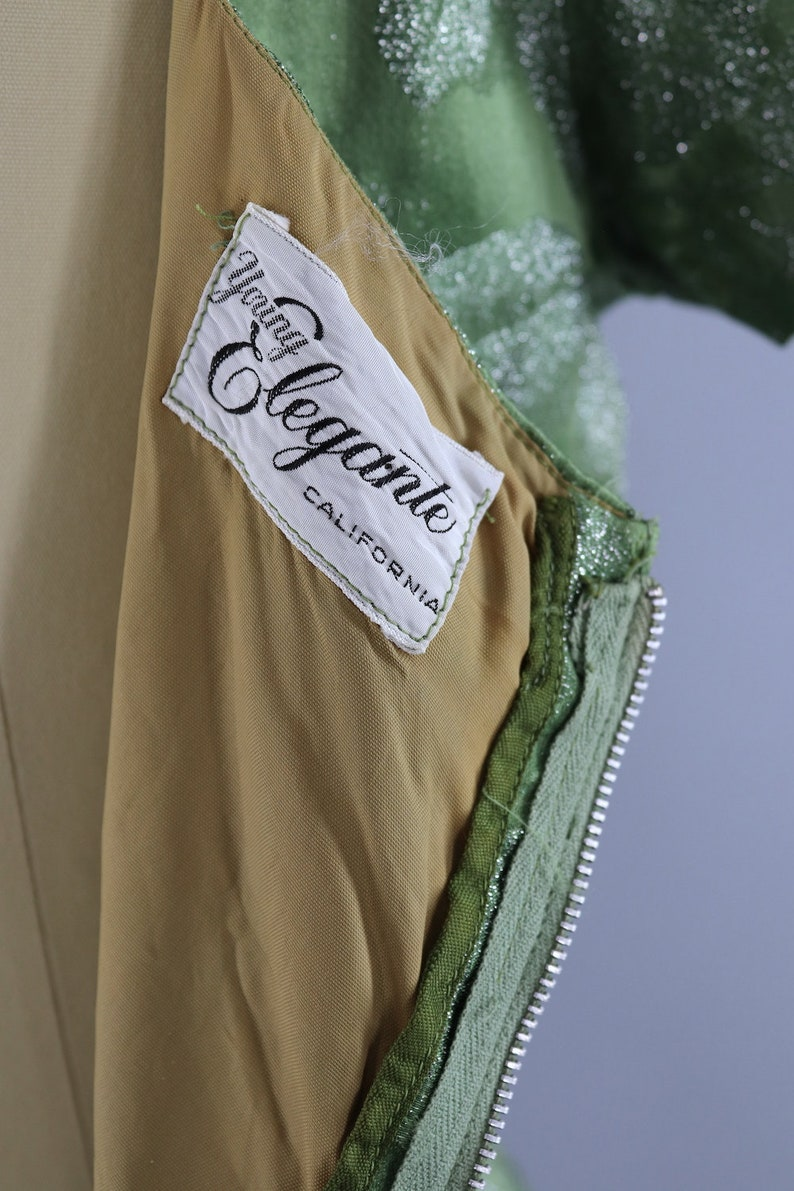 Vintage Cocktail Dress Reception Courthouse Wedding Bridesmaid Olive Army Green /& Silver Satin 1950s 50s 1960s 60s