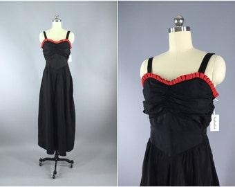 Vintage 1930s Dress / 30s Bias Cut Dress / Black Maxi Dress / 1930 Dress Evening Gown / Long Black Dress / XS Extra Small