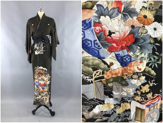 Antique Silk Kimono Robe, Black Grey Green Floral,