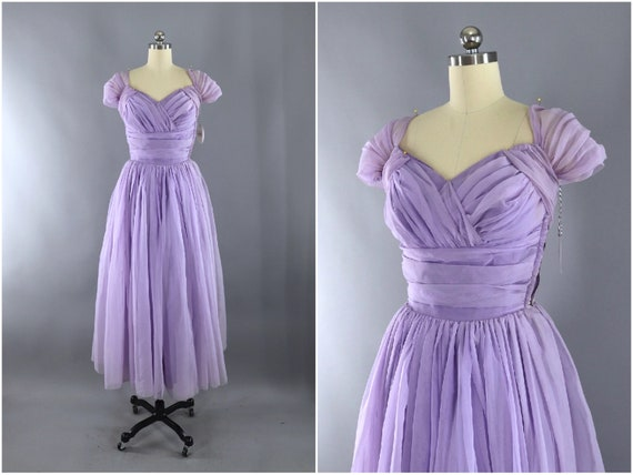 Vintage Chiffon Dress, Lavender Chiffon Formal Cocktail Party, Wedding Dress, Bridesmaid Gown, 1950s 50s Courthouse Destination Wedding