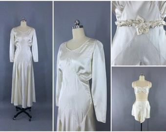 Vintage 1930s Wedding Dress / 30s Bias Cut Dress / 1920s Art Deco Wedding Gown / Ivory Satin / Bra Tap Pants Slip Lingerie Set