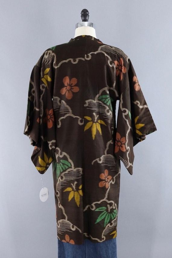Vintage Silk Kimono Coat, Short Robe, Duster Jack… - image 6