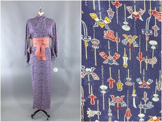 Vintage Kimono Robe, Dark Periwinkle Purple Orange