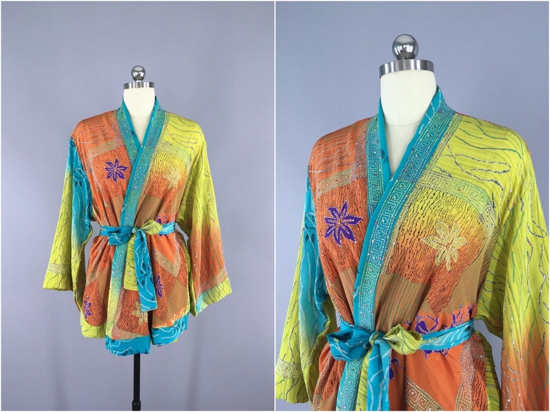 e17b3ee34 Silk Kimono Cardigan / Kimono Jacket / Vintage Indian Sari / | Etsy