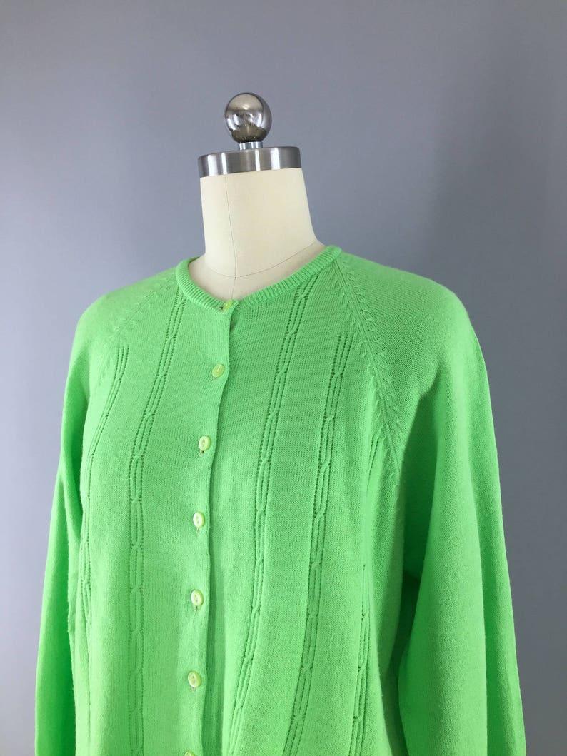 Vintage 1970s Cardigan Sweater  Spring Green Knitted Sweater  Vintage Jumper  Vintage Cardi
