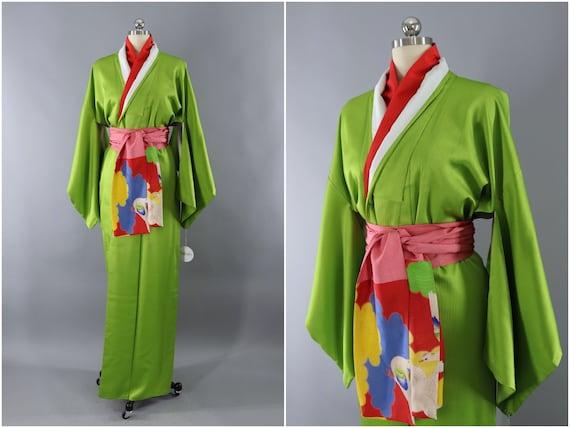 Vintage Silk Kimono Robe Lime Acid Green 1980s 1990s Silk   Etsy