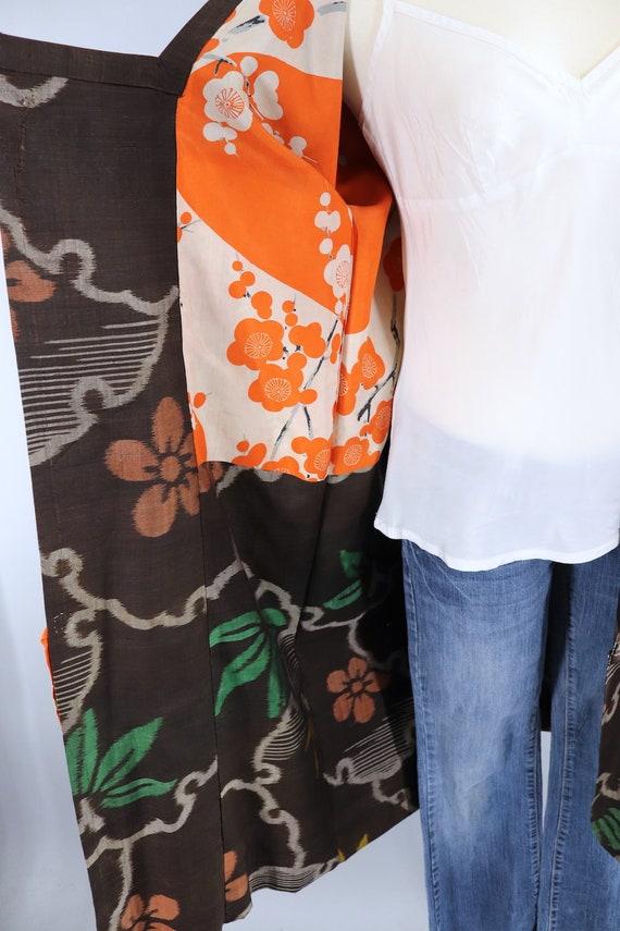 Vintage Silk Kimono Coat, Short Robe, Duster Jack… - image 7