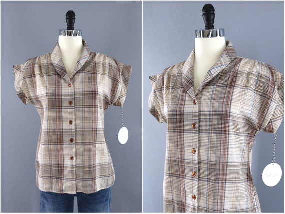 Vintage Blouse, Brown Orange Plaid, Tartan Madras